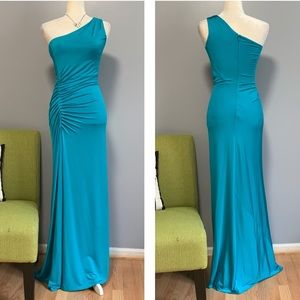 Laundry by Shelli Segal Teal One Shoulder Gown C5